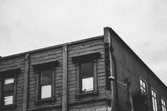 Grayscale Photo of Building Stock Photography