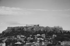 Grayscale Photo of City Buildings Stock Photography