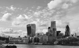 Grayscale Photo of City Near Body of Water Royalty Free Stock Photo