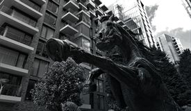 Grayscale Photo of Concrete Horse Statue stock images