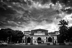 Grayscale Photo of Concrete Mansion Stock Photography