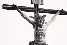 Grayscale Photo Of The Crucifix Stock Photo