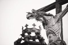Grayscale Photo Of Crucifix Royalty Free Stock Photos