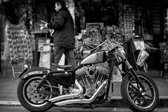 Grayscale Photo of a Cruiser Motorcycle Royalty Free Stock Image