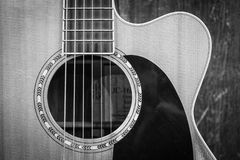 Grayscale Photo of Cutaway Acoustic Guitar royalty free stock photography