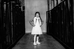 Grayscale Photo of Girl Wearing Dress royalty free stock photos
