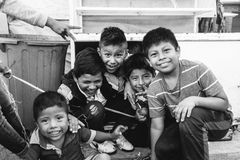 Grayscale Photo of Group of Children Stock Image