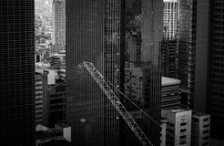 Grayscale Photo of a High Rise Building Royalty Free Stock Photos
