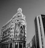 Grayscale Photo of Highrise Building royalty free stock photography