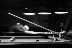 Grayscale Photo of Man Holding Cue-stick Stock Photos