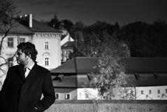 Grayscale Photo of Man in Suit Royalty Free Stock Photo
