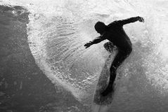 Grayscale Photo Of Man On Surfboard Stock Photography