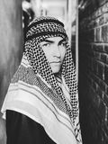 Grayscale Photo of a Man Wearing Keffiyeh Royalty Free Stock Photo