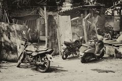 Grayscale Photo of Motorcycles Stock Images