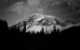 Grayscale Photo Of A Mountain Covered With Snow Royalty Free Stock Photos