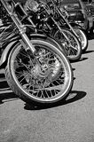 Grayscale Photo of Parked Motorcycle Royalty Free Stock Image