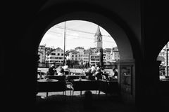 Grayscale Photo Of People In A Cafe Stock Photos