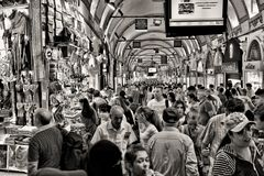 Grayscale Photo of People at Market Royalty Free Stock Photography