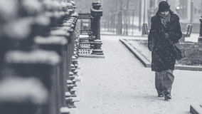 Grayscale Photo of Person in Black Walking on Park Royalty Free Stock Photo