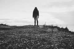 Grayscale Photo Of Person In Parka Coat Royalty Free Stock Photography