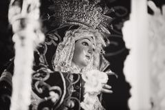 Grayscale Photo of Religious Figurine Stock Photos