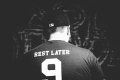 Grayscale Photo of Rest Later 9 Shirt Stock Photography