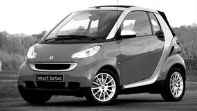Grayscale Photo of Smart Fortwo royalty free stock photography