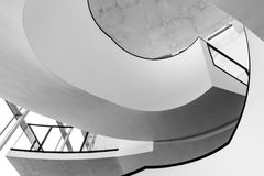 Grayscale Photo of Spiral Stairs stock photography