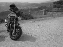 Grayscale Photo of Standard Motorcycle Stock Photo