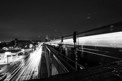 Grayscale Photo of Timelapse of Vehicles on Road during Nighttime Royalty Free Stock Image