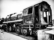 Grayscale Photo of Train Royalty Free Stock Image