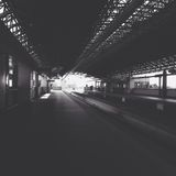 Grayscale Photo of Train Station Stock Image
