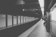 Grayscale Photo of Train Subway Royalty Free Stock Image