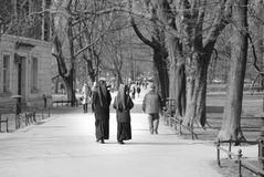 Grayscale Photo Of Two Nuns Royalty Free Stock Photo