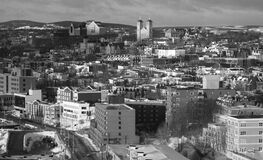 Grayscale Photo of Urban City Royalty Free Stock Photo