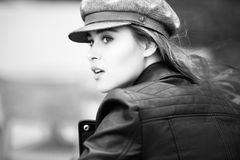 Grayscale Photo of Woman in Black Leather Jacket Stock Images