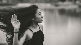 Grayscale Photo of Woman in Spaghetti Strap Top Royalty Free Stock Photos