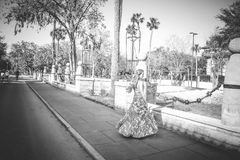 Grayscale Photo of Woman Wearing Dress royalty free stock photography