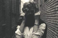 Grayscale Photo of Women Stock Photo