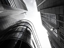 Grayscale Photograph of Buildings Royalty Free Stock Photography