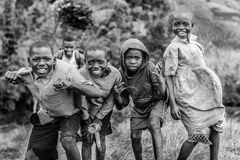Grayscale Photograph Group of Children Stock Images