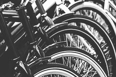 Grayscale Photography of Bicycle Stock Images