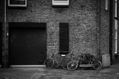 Grayscale Photography Of Bicycles Stock Image