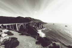 Grayscale Photography of Bixby Creek Bridge at Daytime Royalty Free Stock Photos
