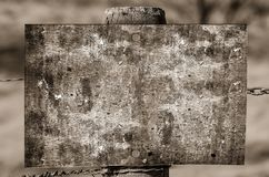 Grayscale Photography of Brown Wooden Board on Fence Royalty Free Stock Photo