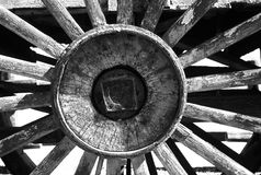 Grayscale Photography of Carriage Wheel royalty free stock images