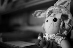 Grayscale Photography of Cartoon Character Plush Toy Stock Photos