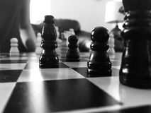 Grayscale Photography Of Chess Board Stock Photos