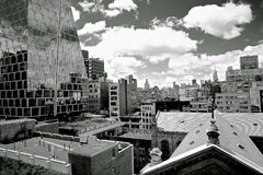 Grayscale Photography of City Buildings Royalty Free Stock Photos