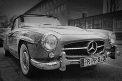 Grayscale Photography of Classic Mercedes Benz Car Royalty Free Stock Image